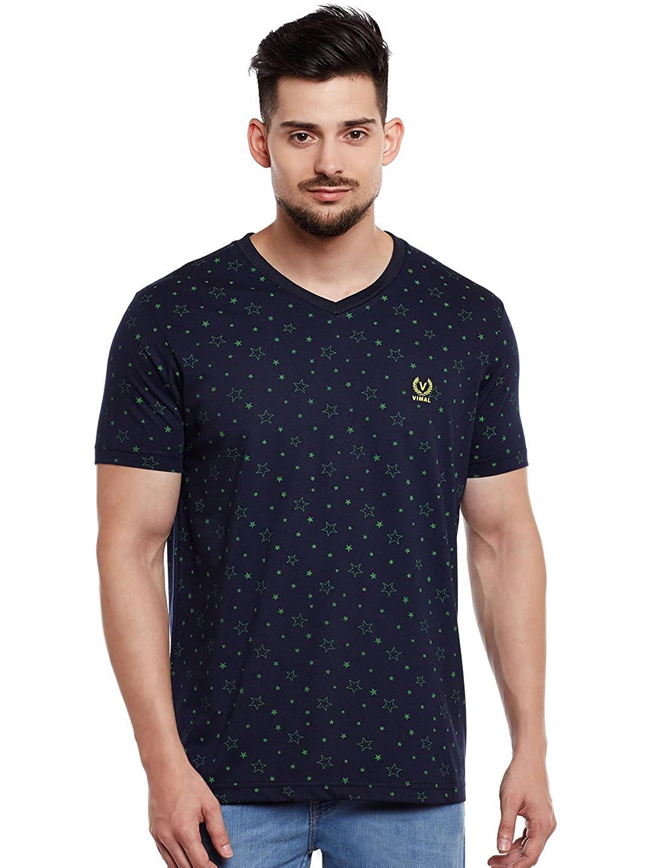 Printed Black V Neck Cotton Tshirt for Men