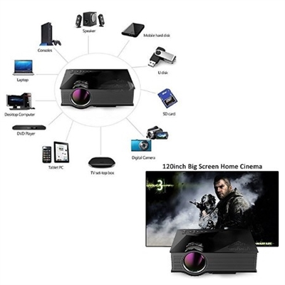 Wifi LED Portable Entertainment Projector with Multiple Inputs